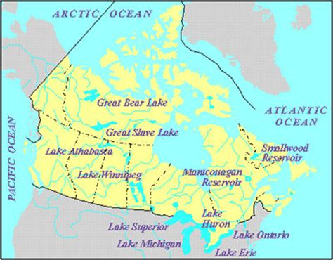 map of canada and lakes great lake the canadian encyclopedia