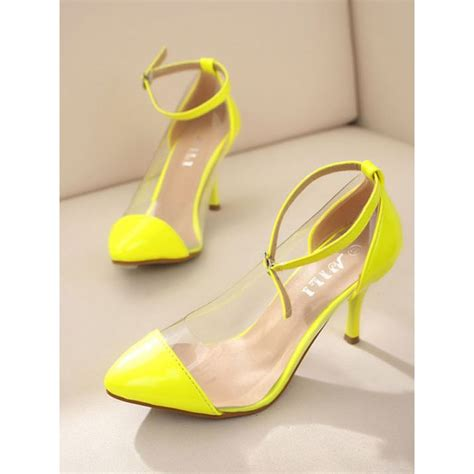 yellow high heel shoes yellow pointed toe clear pvc high heel court shoes