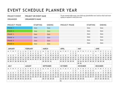 wedding planning schedule template event planner