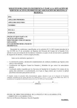MODELO DE CARTA DE EXCEDENCIA ESPECIAL PARA PASE A
