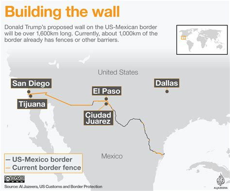 us mexico border wall map building s border wall al jazeera