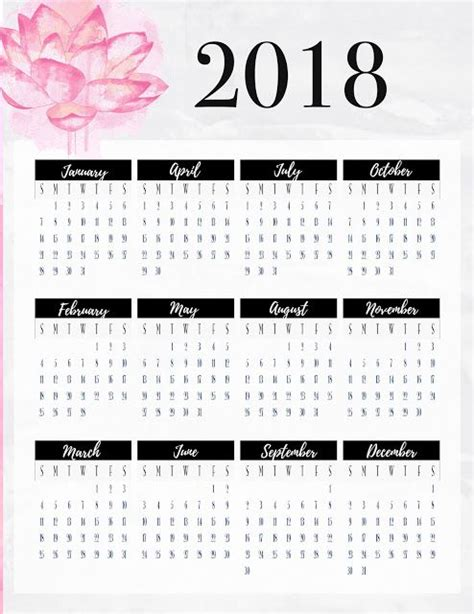 printable calendar 2018 year at a glance freebie friday 2018 year at a glance planner inserts