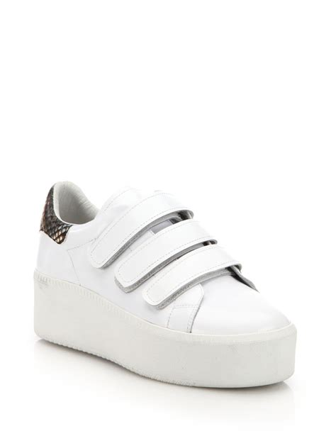 cool white sneakers ash cool leather platform sneakers in white lyst