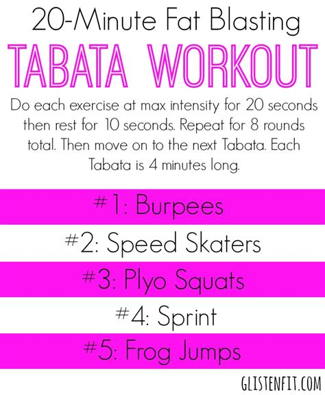 20 minute blasting tabata workout glisten fit