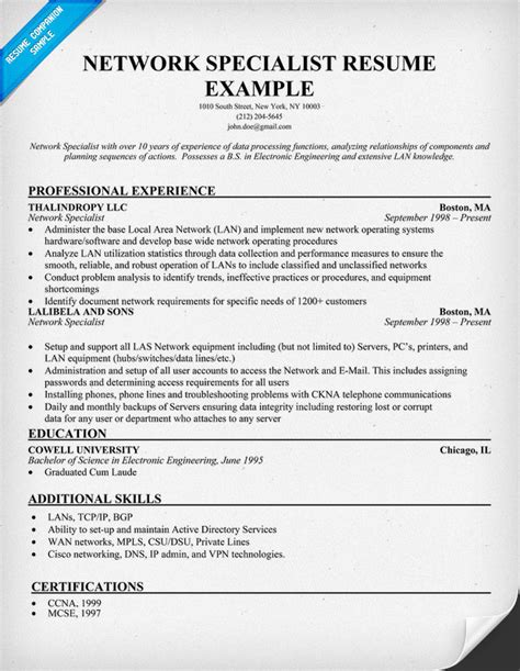 resume exles it specialist resume template