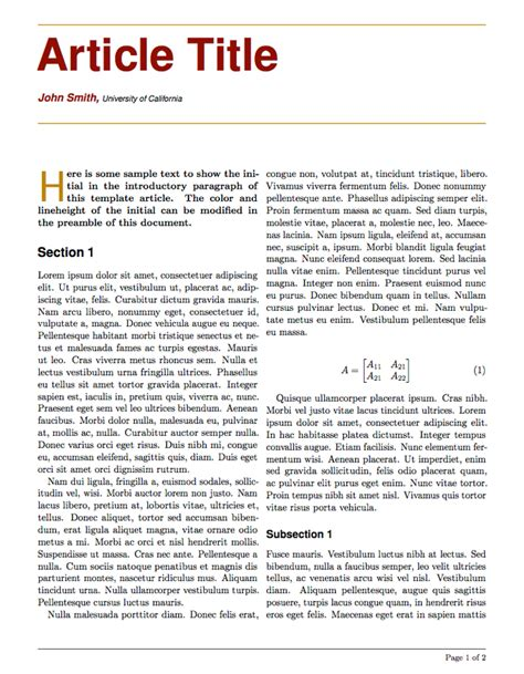 journal article layout template latex templates 187 articles