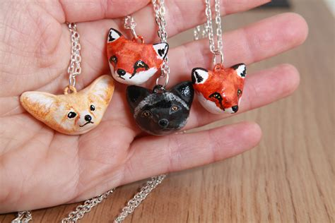 acrylic paint polymer fox necklaces polymer clay acrylic paint by