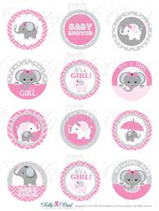 Grey girl elephant baby shower cupcake toppers favor tags oh baby