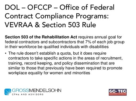 section 503 rehabilitation act what government contractors need to do to comply with new