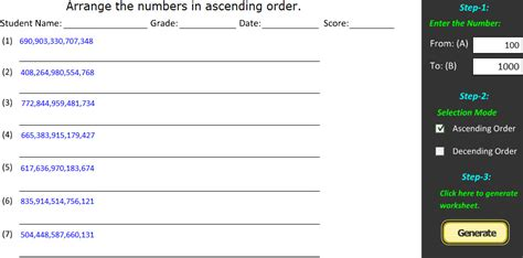 ascending descending order worksheets ascending order descending order math worksheet creator