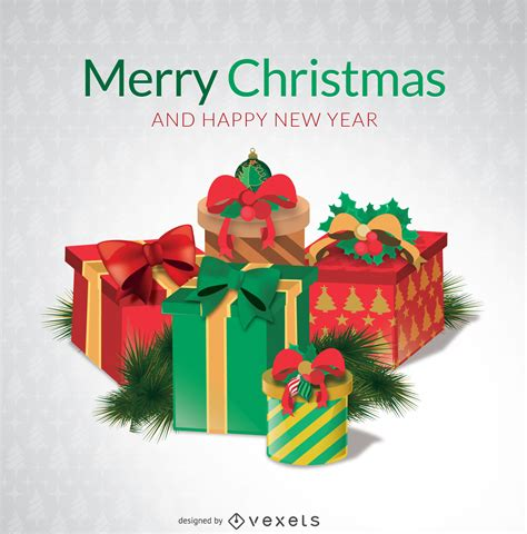 merry christmas gift boxes vector