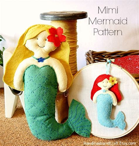 Handmade Felt Craft Patterns - felt mermaid pattern plushie ornament
