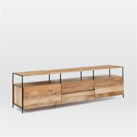 industrial media console industrial storage media console 80 quot west elm