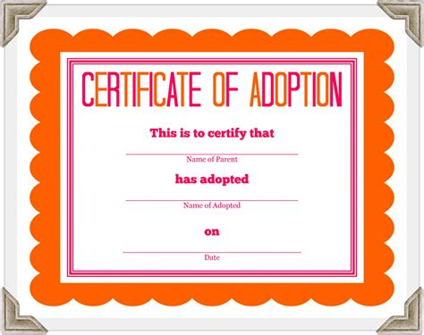 child adoption certificate template adoption certificate clipart 12