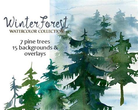 winter woods watercolor clip pine trees snow log cabin watercolor background whiteheartdesign weddbook