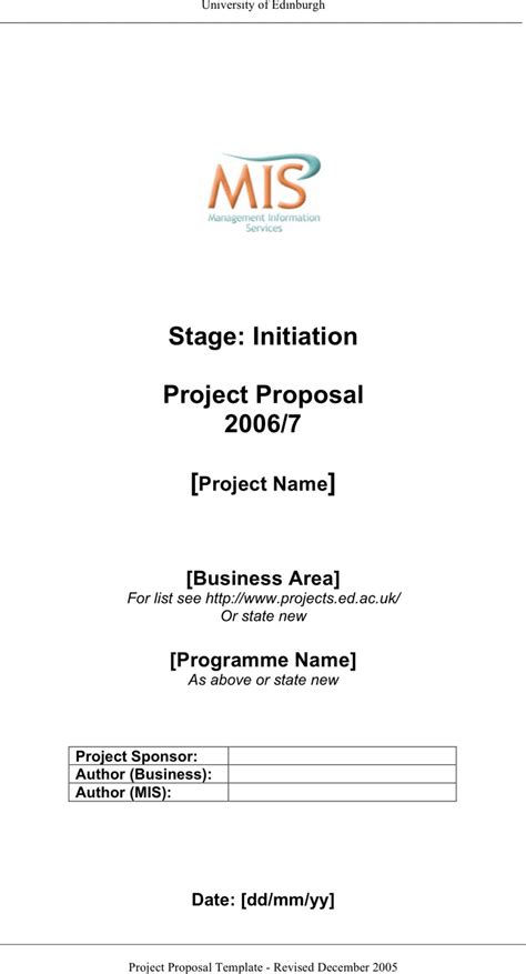 project proposal template template free download