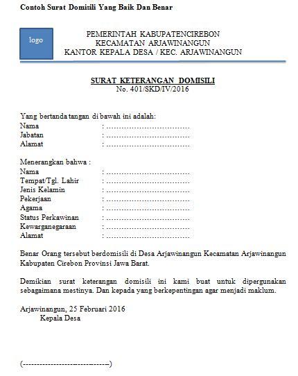 Contoh Surat Domisili Rw Bertemuco