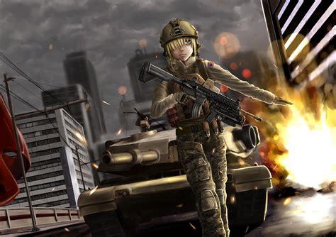 anime soldier girl wallpaper tapete schlachtfeld anime m 228 dchen soldat hd mit