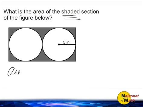 area of a section of a circle area of shaded part of rectangle subtracting area of two
