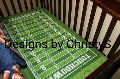 Football Crib Set by Touchdown Football Field Fitted Sheet Crib Toddler