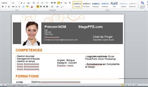 Model Cv Word Gratuit 2015 by Docx Modele Cv Word 2015 Chef De Projet Gratuit Stagepfe