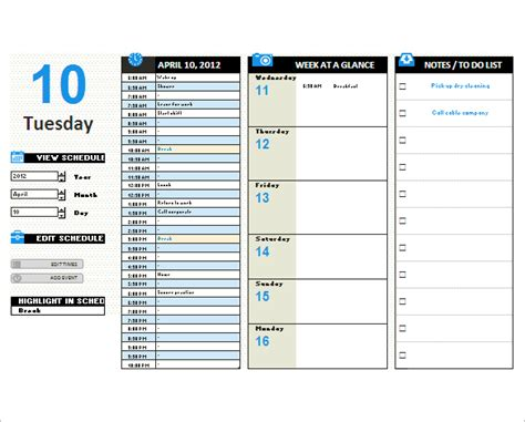 daily calendar template excel daily planner template excel beneficialholdings info