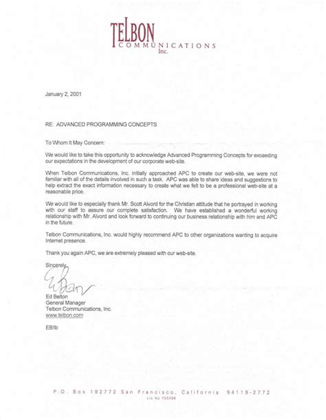 business letter of recommendation business recommendation letter for a company letter