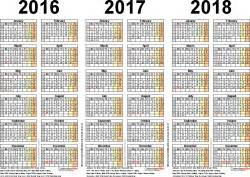 three year calendars for 2016 2017 amp 2018 uk for pdf