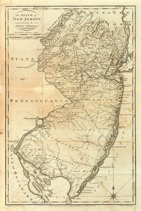 california new jersey map vintage 1795 map of new jersey by atomicphoto on etsy 50