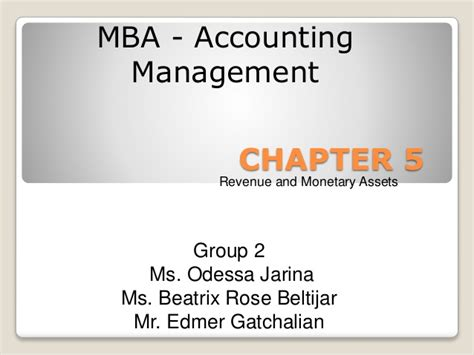 Mba In Revenue Management by Chapter 5 Revenue And Monetary Assets