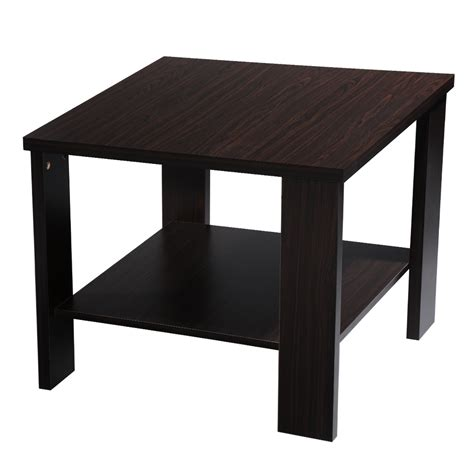 Modern End Table Square Storage Side Wood Living Room Square Living Room Table