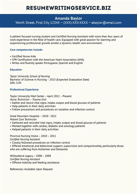 Resume Writing Service by Great Nursing Student Resume Sle
