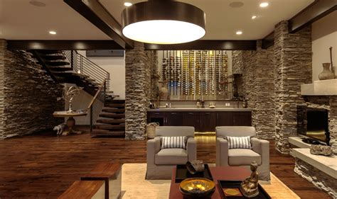 Metal wine wall decor family room contemporary with stacked stone siding wood slab stairs