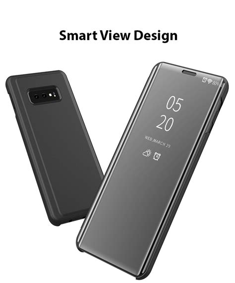 samsung galaxy    smart view mirror leather flip stand case cover ebay
