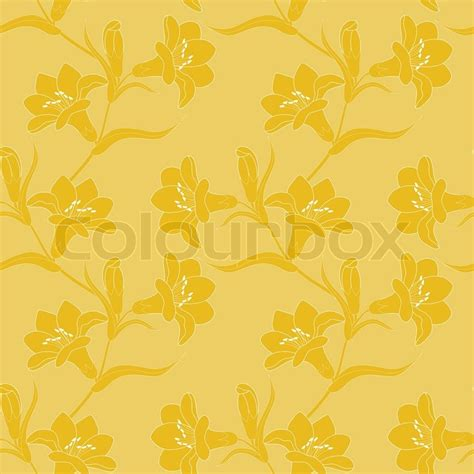 yellow lily pattern seamless pattern with blooming yellow lilies stock