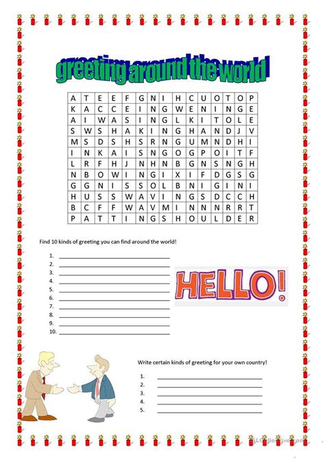 Search Around The World Greeting Around The World Wordsearch Worksheet Free Esl Printable Worksheets Made By