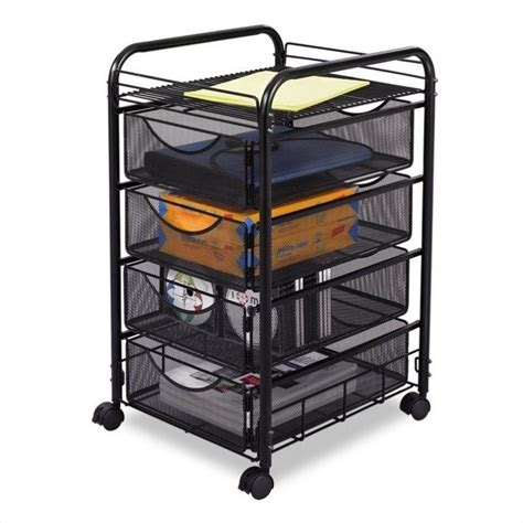 6 drawer mesh rolling cart mesh file cart with 4 drawers in black 5214bl
