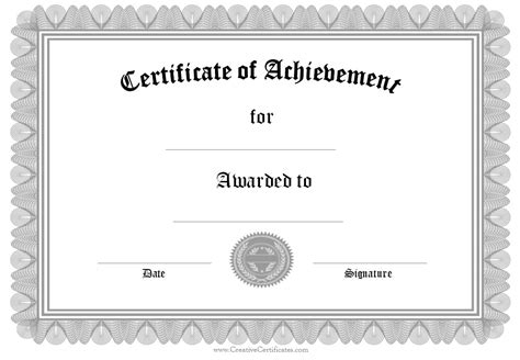 certificate of achievement template for formal award certificate templates