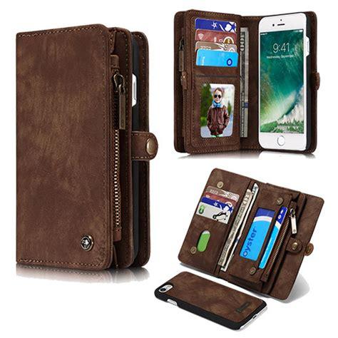caseme iphone  detachable multi slot zipper wallet case brown