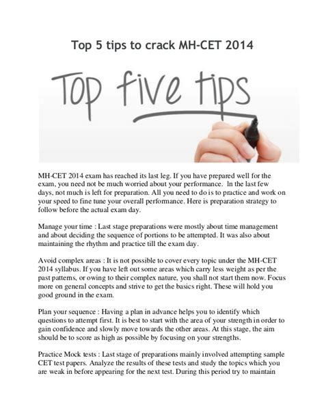 Mba Cet Preparation Tips by Top 5 Tips To Mh Cet