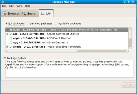 add remove software package manager and pirut linux windows install setup configuration project