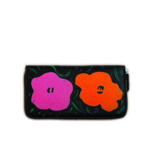 fiori warhol portafoglio dipinto a mano fiori di warhol