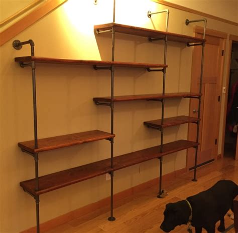 black iron pipe shelves transitional living room