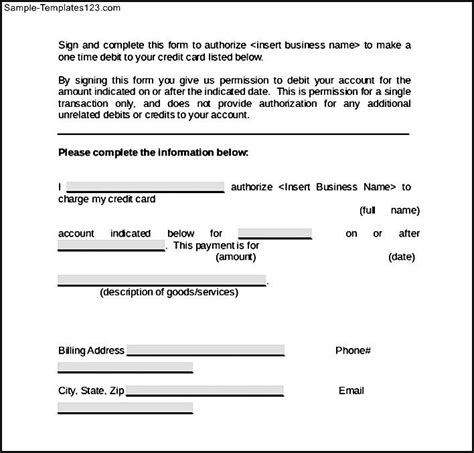 Template For A Credit Card Authorization Form Word Credit Card Authorization Form Sle Templates