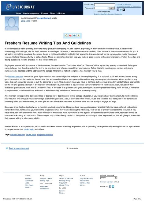 Resume Tips Guidelines freshers resume writing tips and guidelines by naukri news