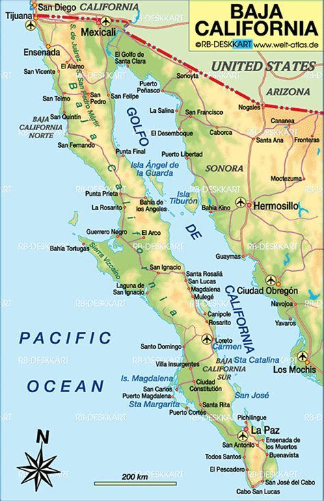 map of baja california map of baja california mexico map in the atlas of the world world atlas