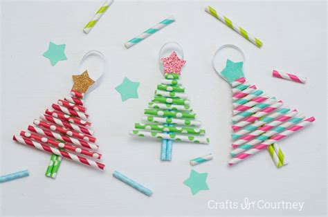 Paper Straw Crafts - diy ornaments pretty paper straw trees