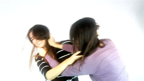catfight between two with hair stock footage 3825788