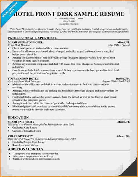 Front Desk Clerk Resume by Front Desk Receptionist Sle Resume Best Front Desk