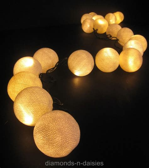 White Cotton Ball String Fairy Lights Wedding Patio Ebay Cotton String Lights